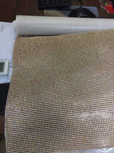 manta de strass 45x1,20 cristal/dourada alto brilho