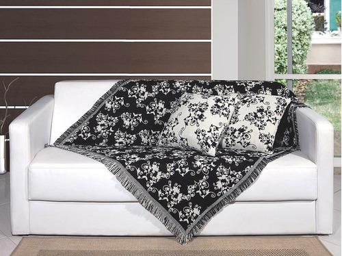 manta decorativa p/ sofá 1,50m x 1,00m floral - lar connect