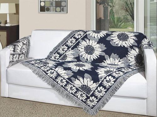 manta decorativa p/ sofá 1,50m x 1,00m girassol - vermelha