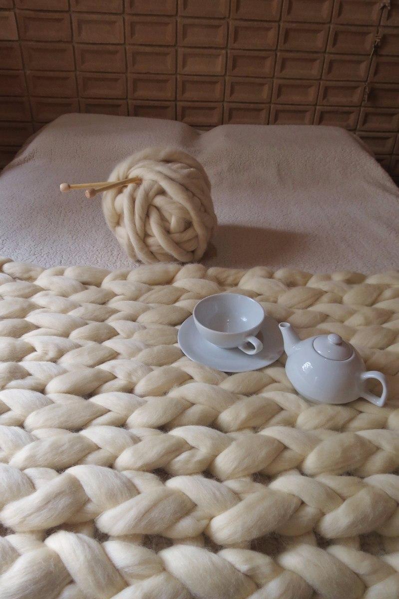 Manta Em Tricô Gigante De Lã Natural - R$ 750,00 em ...
