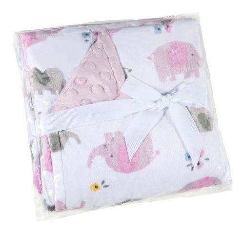 manta fleece dupla face bebê 82 cm x 82 cm lepper rosa
