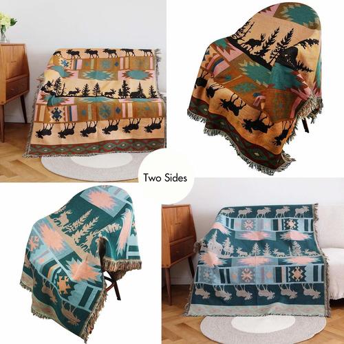 manta india con flecos para el sofá cama suavemente de...