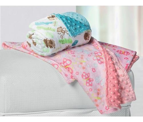 manta para bebê fleece dupla face borboleta rosa lepper