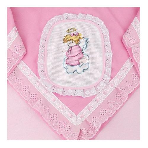 manta para menina de fustão rosa com bordado de ponto cruz