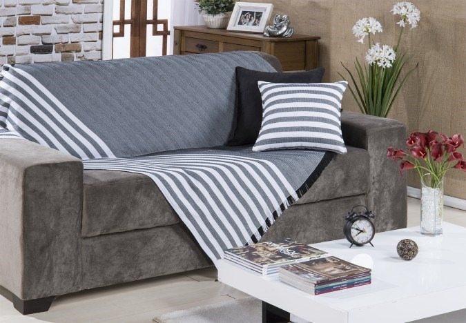 Manta para sof genebra 150x140cm preto bordart 306141 r - Mantas para el sofa ...