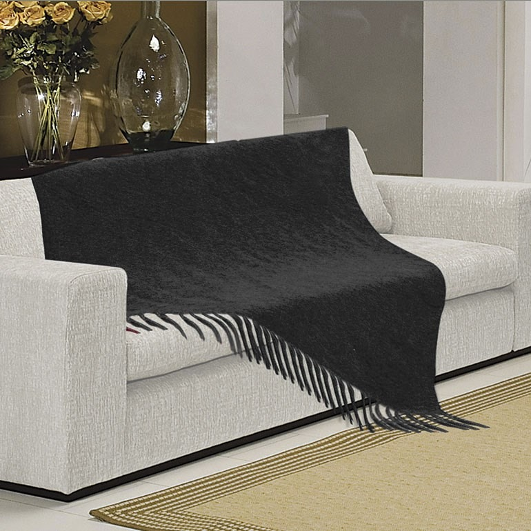 Manta para sof sevilha chenille 120x180cm preto borda r for Mantas sofa