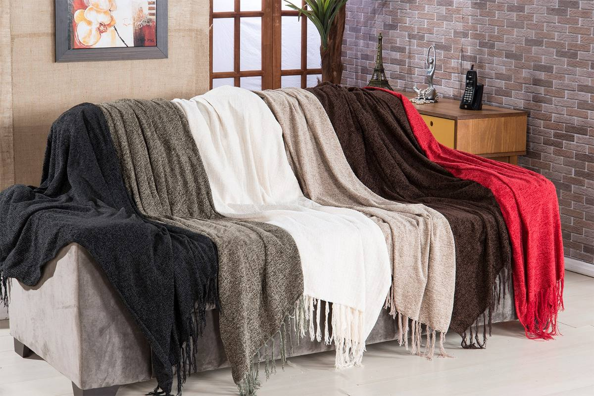 Manta para sof sevilha chenille 120x180cm bege bordar r - Manta de sofa ...