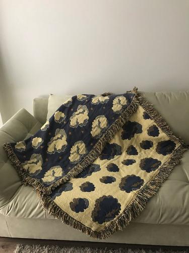 manta para sofá azul e amarela 98 cm x 1,27 cm