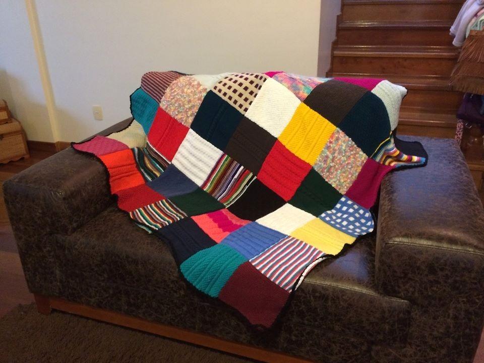 Manta para sof feita em trico r 200 00 em mercado livre for Mantas para sofas