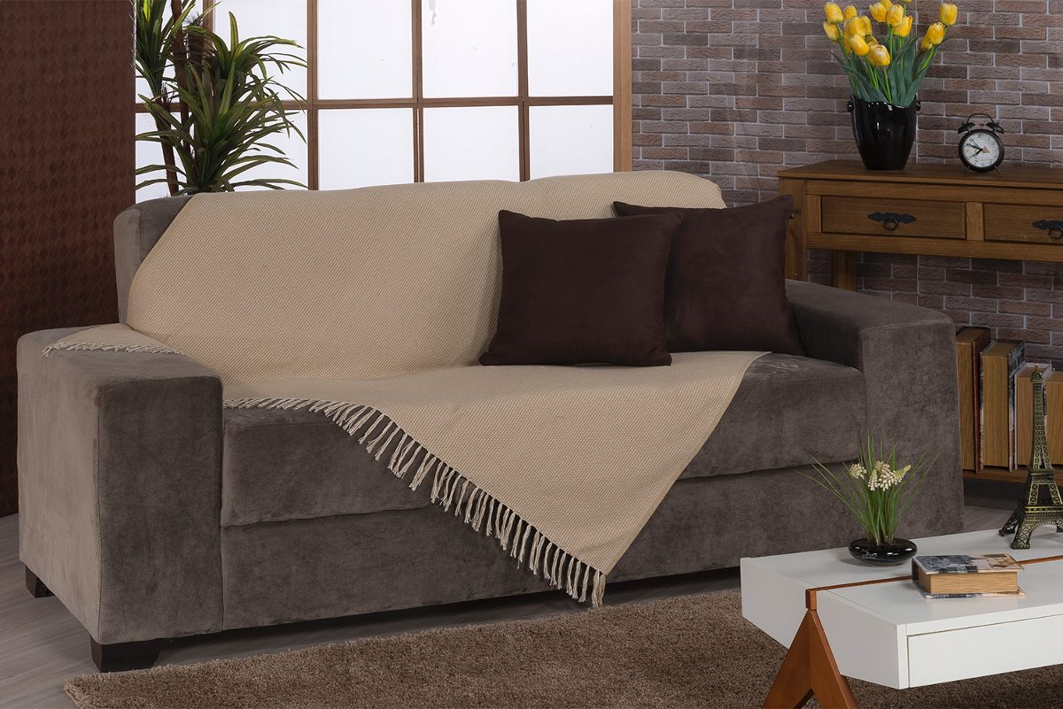 Manta para sof ravena 180x130cm bege bordart 84416810 r for Mantas sofa