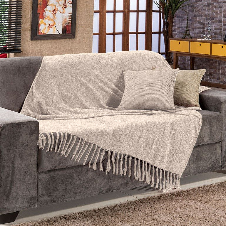 Manta para sof sevilha chenille 120x180cm bege bordar r for Mantas sofa