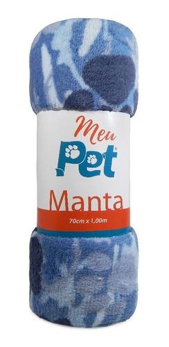 manta pet p/ cachorro e gato microfibra - panosu - pata azul
