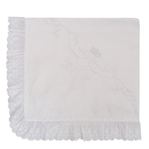 manta piquet marli enxovais bordado coroa branco