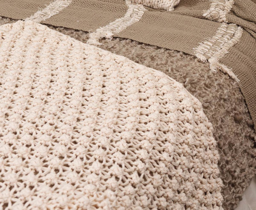 manta rococo   hilo tejido antiguo. ahuana deco