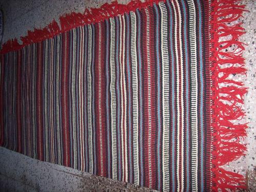 manta rustica pura lana tipo aguayo con flecos 2 plazas