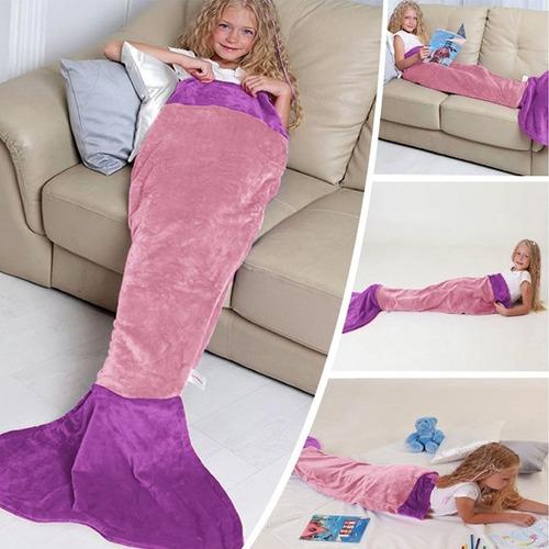 manta saco de dormir infantil sereia azul/rosa  promoção