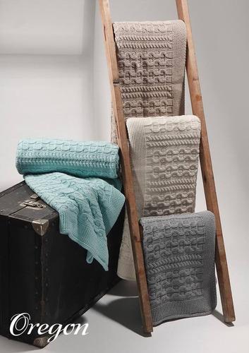 manta + set 2 fundas sillon decoracion pie de cama tejida
