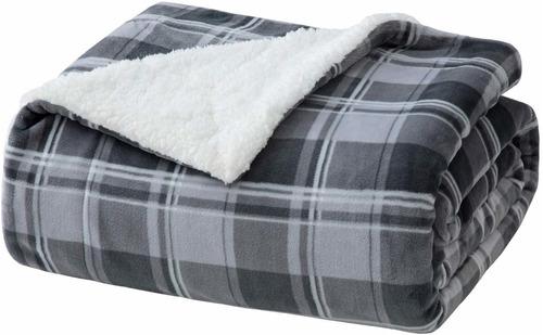 manta sherpa plaid throw para sofá, sofá y cama  suav...
