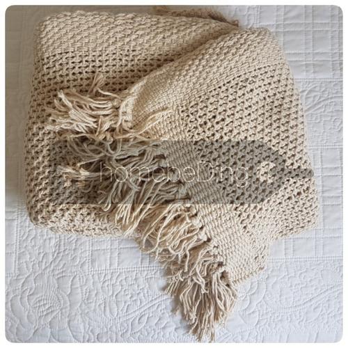 manta tejida hilo c/flecos - pie de cama palette jungle
