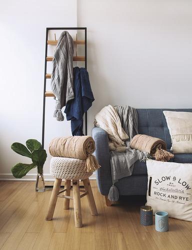 manta tejida palette trenzada borlas sillones y pie de cama