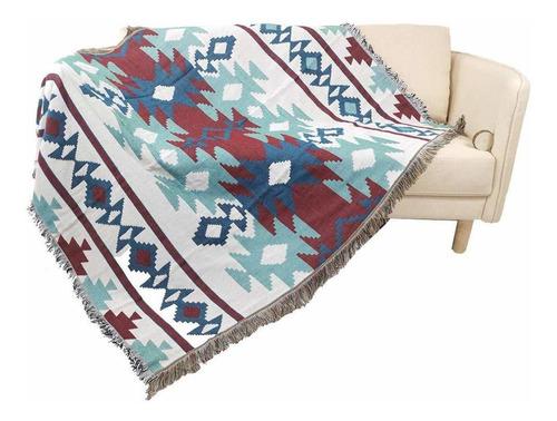 manta tejida para sofá con flecos, suave y liviana, ac...