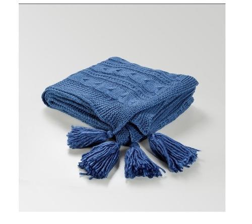 manta tejida pie de cama delicado cubre sillon con pompones
