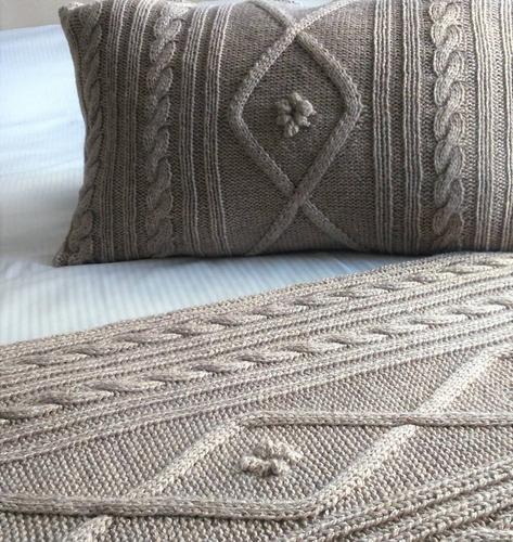 manta tejida, pie de cama tejido artesanal 1.80 m
