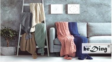 manta tejida trenzada c/borlas -  pie de cama palette sunday