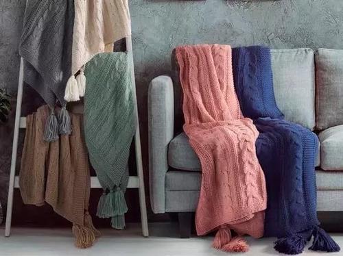 manta tejida trenzada con borlas pie de cama palette sunday
