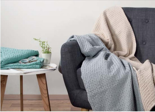 manta tejida waffle palette cubre sillon pie de cama