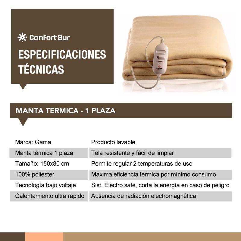 Manta Térmica Eléctrica Gama 1 Plaza Bajo Consumo *6   $ 1.953,85