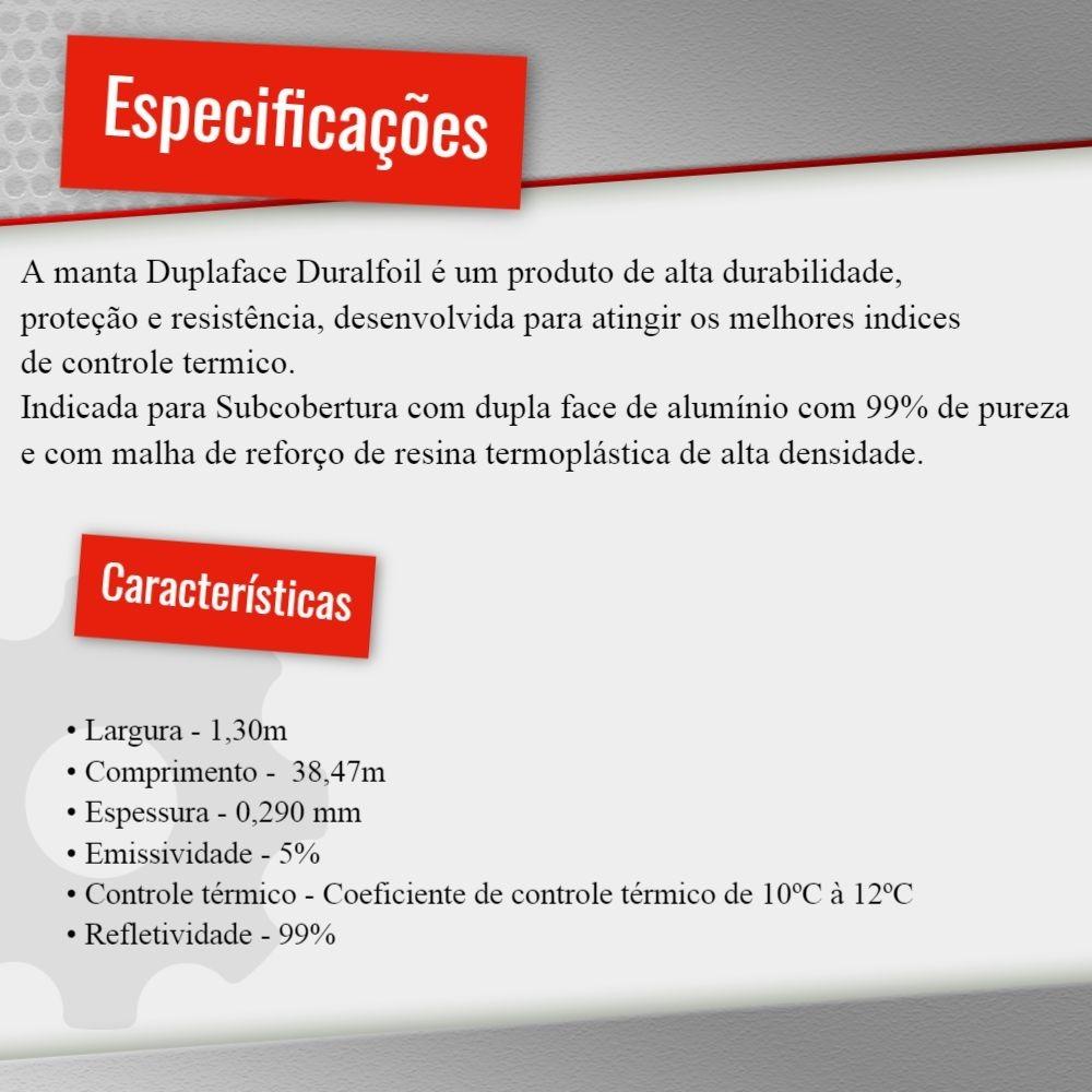 3afc203f0b Manta Térmica Subcobertura Duralfoil Dupla Face - 50m² - R  239