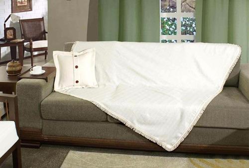 manta vila rica crú 100% algodão 140 x 140 com franja