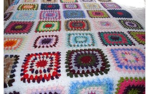 mantas colchas vintage tejidos al crochet   1.30 x 2.25
