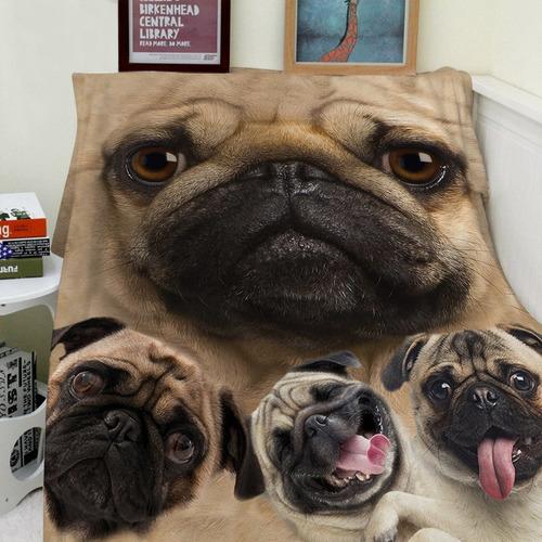 mantas felpa sofá cama manta manta divertido pug perro...