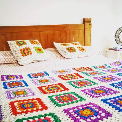 mantas pieceras tejidas crochet 180 x 100 cm