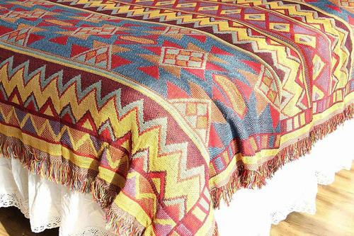 mantas tejidas con borlas para sofá cama funda de sill...
