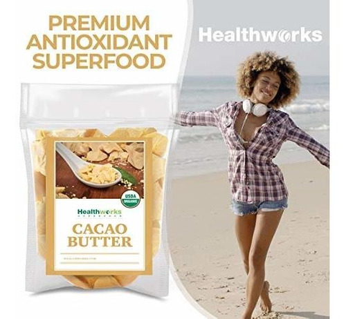 manteca de cacao healthworks 16 onzas / 1 libra organica | c