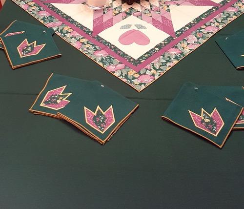 mantel  2.50m cubremantel servilletas  bordadas patchwork