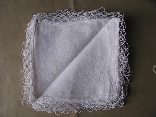 mantel antiguo de hilo con 8 servilletas impecable estado