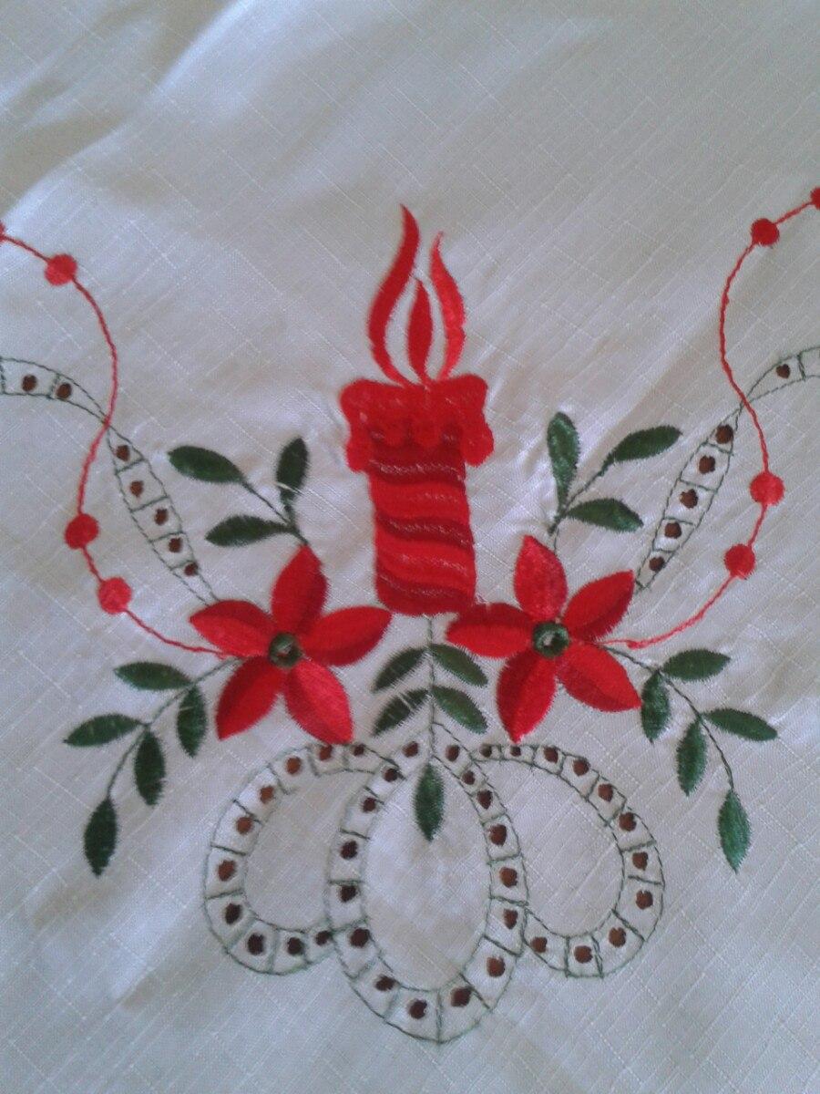 Mantel bordado de navidad bs en mercado libre - Manteles para navidad ...