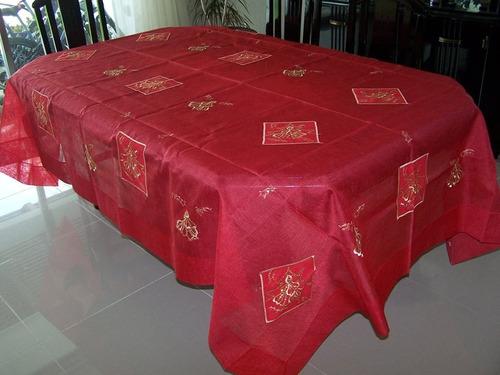 mantel bordado navideño  2210 rectangular de 1.80 x 3.20 m