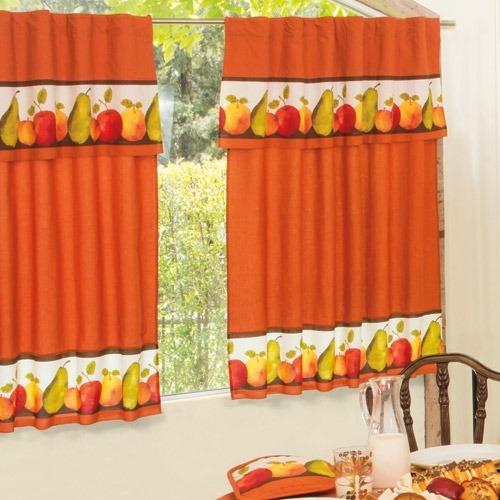 mantel circular frutal + 2 cortinas vianney envio gratis
