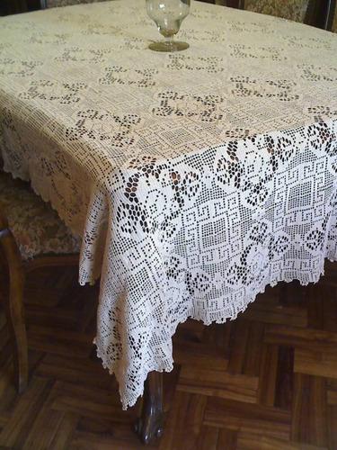 mantel crochet gran tamaño- antiguo-elegante