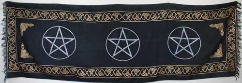 mantel de tres pentagramas para altar o decorar