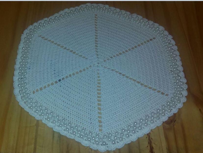 Mantel Individual Crochet Con Perlas - $ 100,00 en Mercado Libre