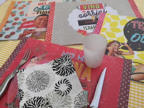 mantel individual papel retro color pack x12 surtidos