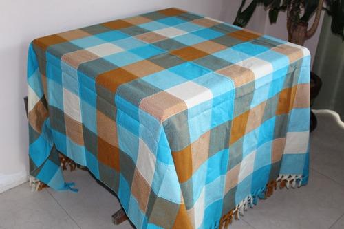 mantel mexicano cuadros 1.5x2mt 6 sillas 2pack azil beige
