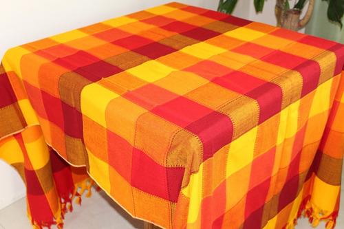mantel mexicano cuadros lisos 1.5x2mt 6 sillas