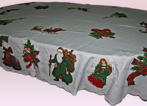 mantel navideño con bordado líquido